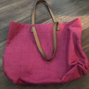 Pink Tote 👜 Bag with Bronze Straps